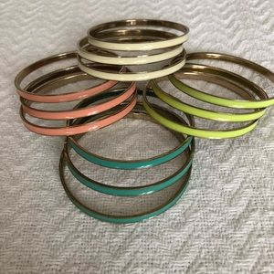 Jewelry - Quad-colored set of bangle bracelets (12 total)